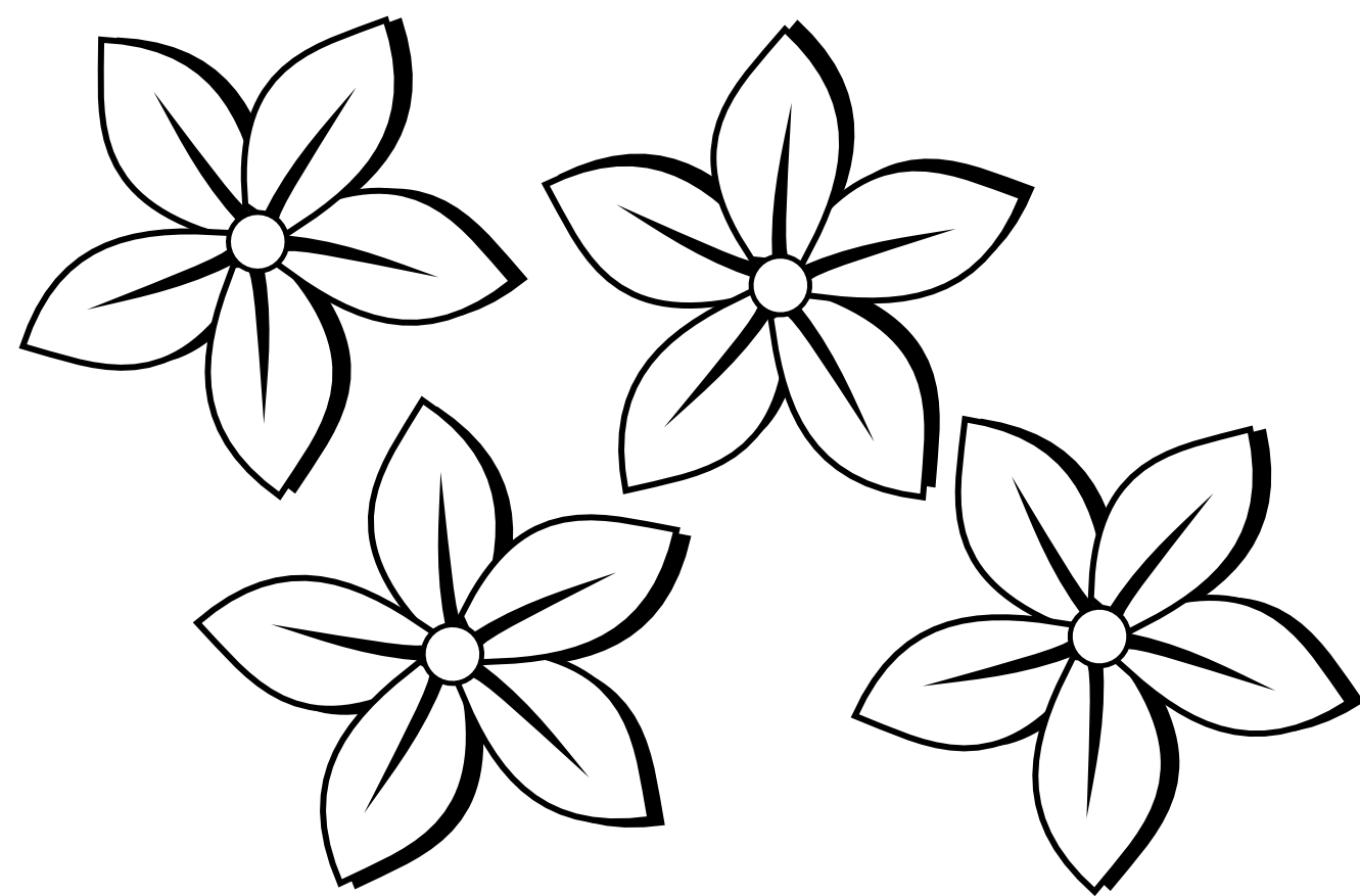 Flower In Line Drawing : Flowers line drawings clipart best