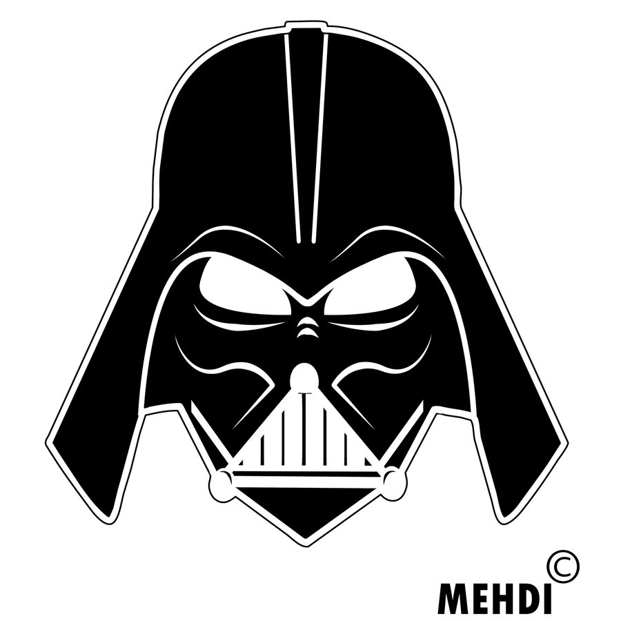 Darth vader vector art clipart best for Darth vader black and white
