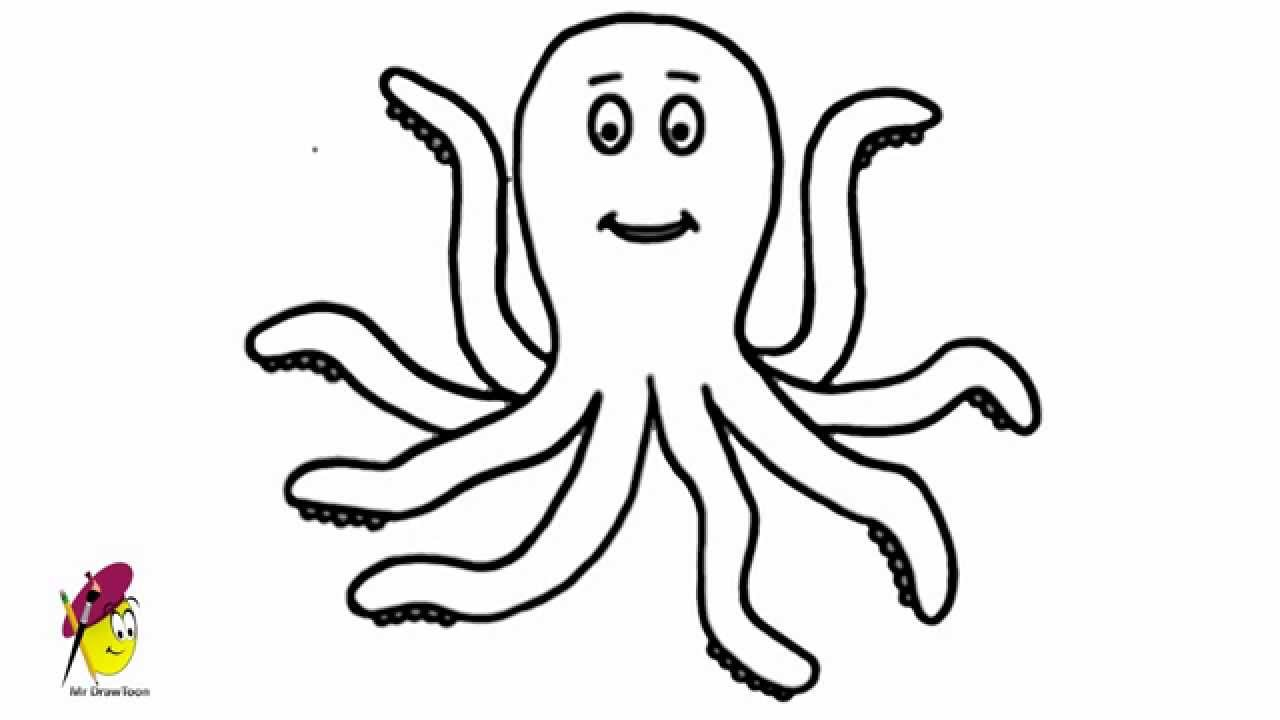 Octopus drawing easy girl