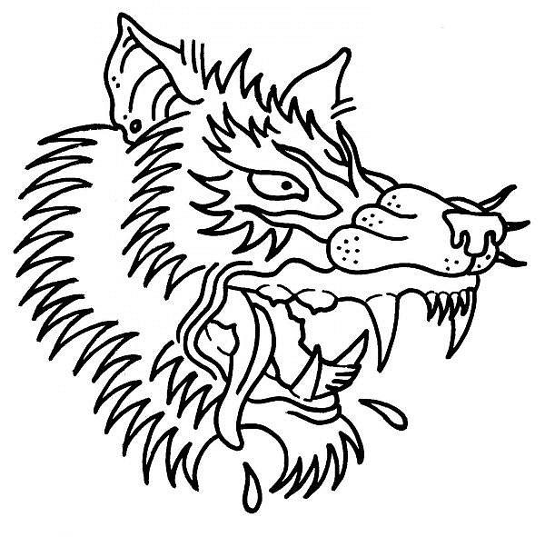 Line Drawing Wolf Head : Wolf head line drawing clipart best