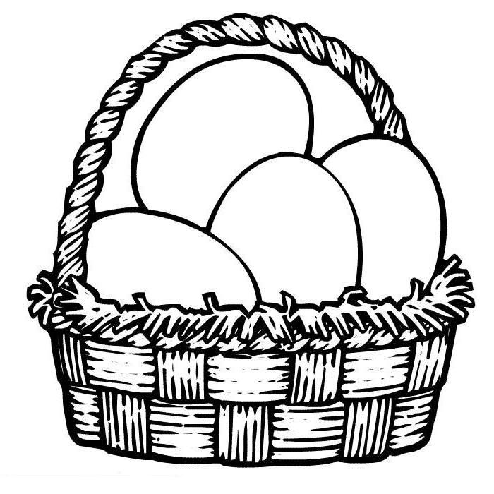White Basket Clipart : Easter basket clipart black and white best
