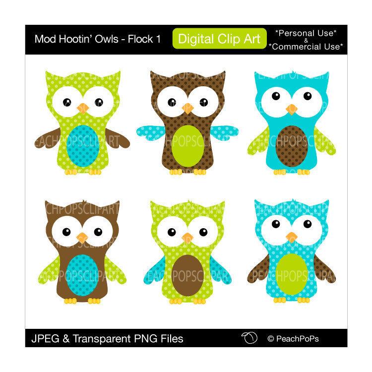 cute owl clip art digital clipart green teal by peachpopsclipart