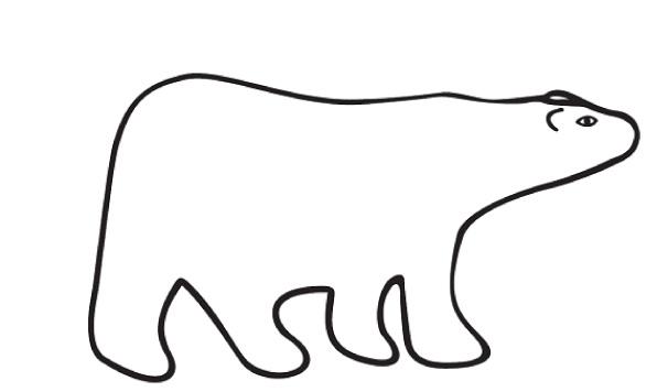 Line Art Bear : Polar bear line drawing