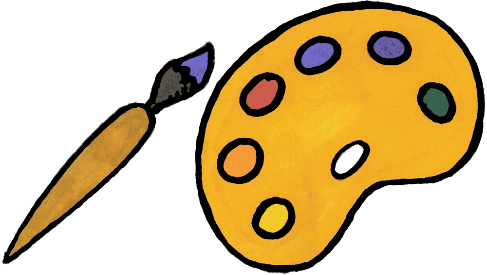 paint brush and pallet clipart best Artist Paint Brush Clip Art Pink Paint Brush Cartoon