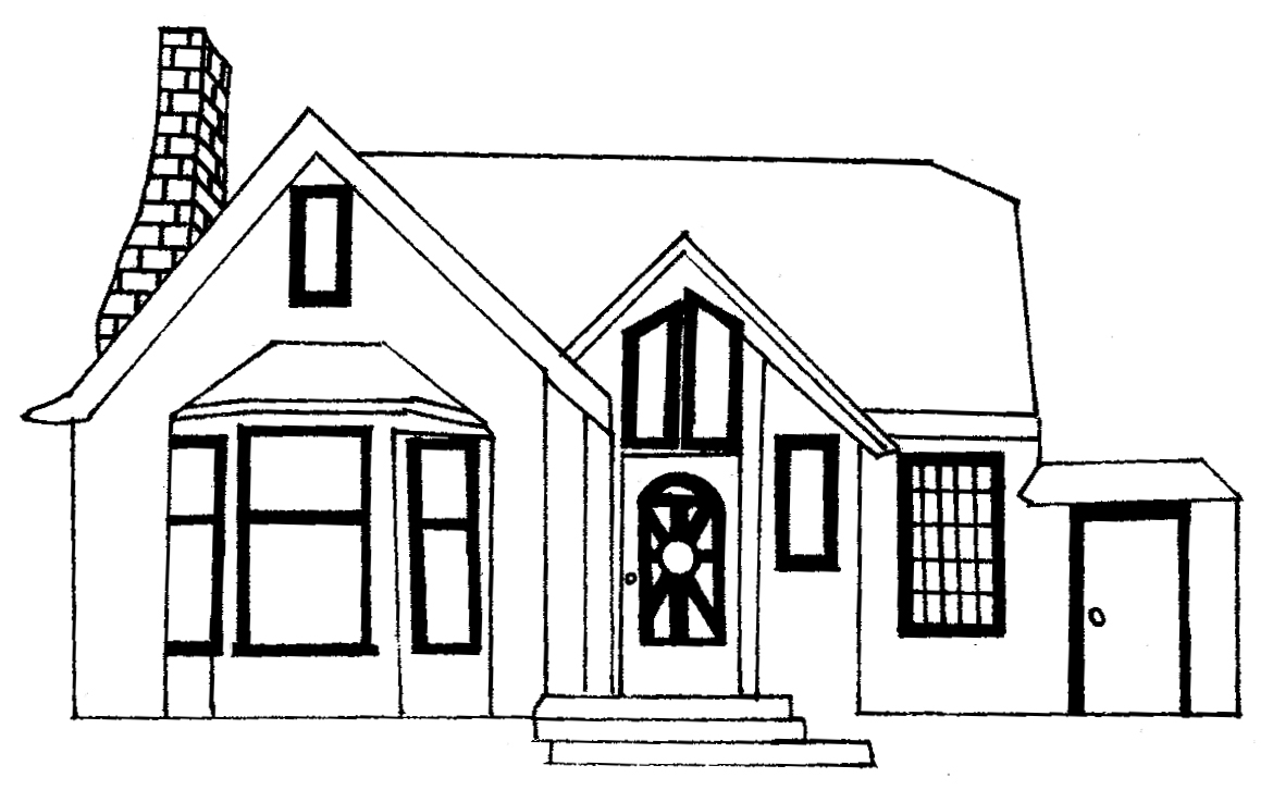Line Art Images Of Houses : House line drawings clipart best
