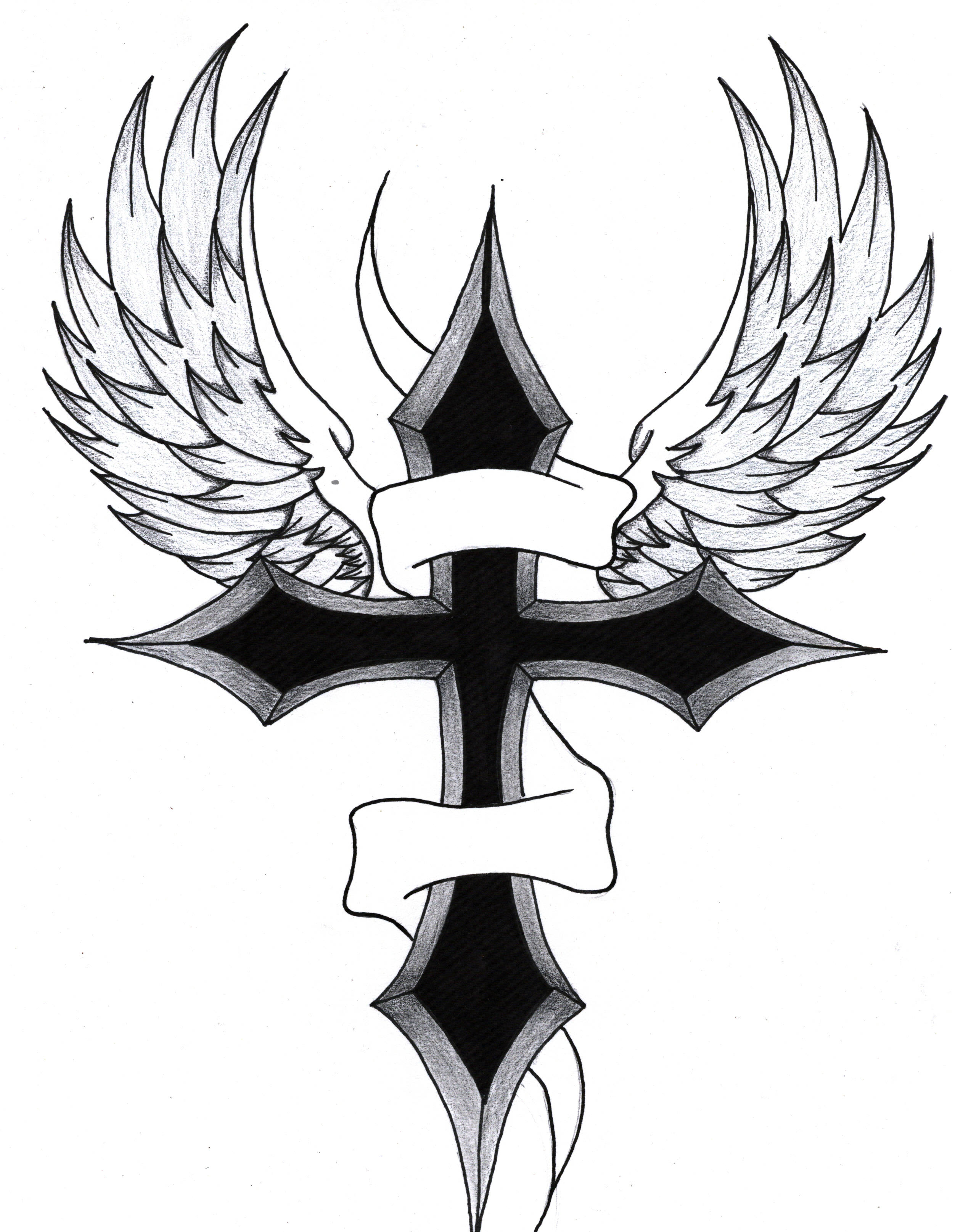 Drawings Of Crosses With Wings - ClipArt Best