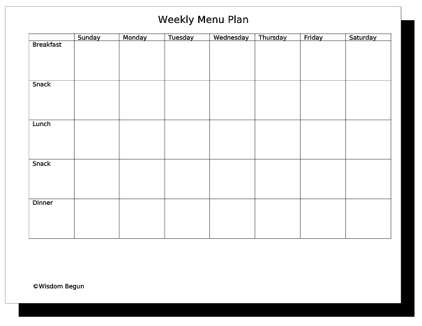 free monthly menu planner template .