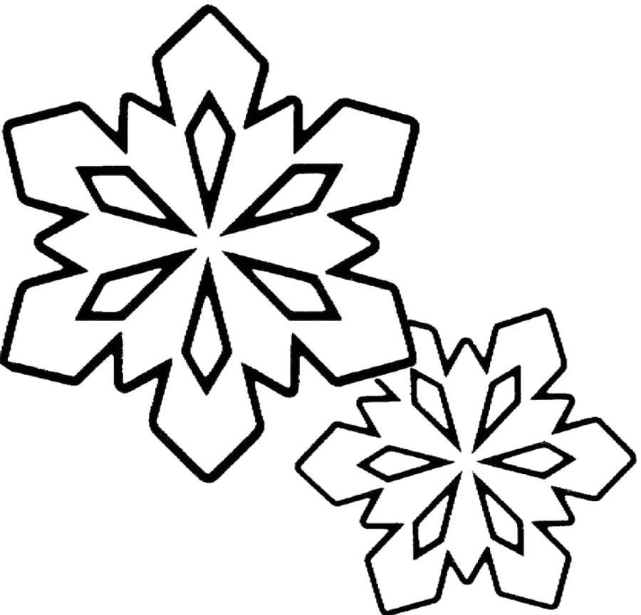 Winter Coloring Pages : Snowflakes Clip Art Black And ...