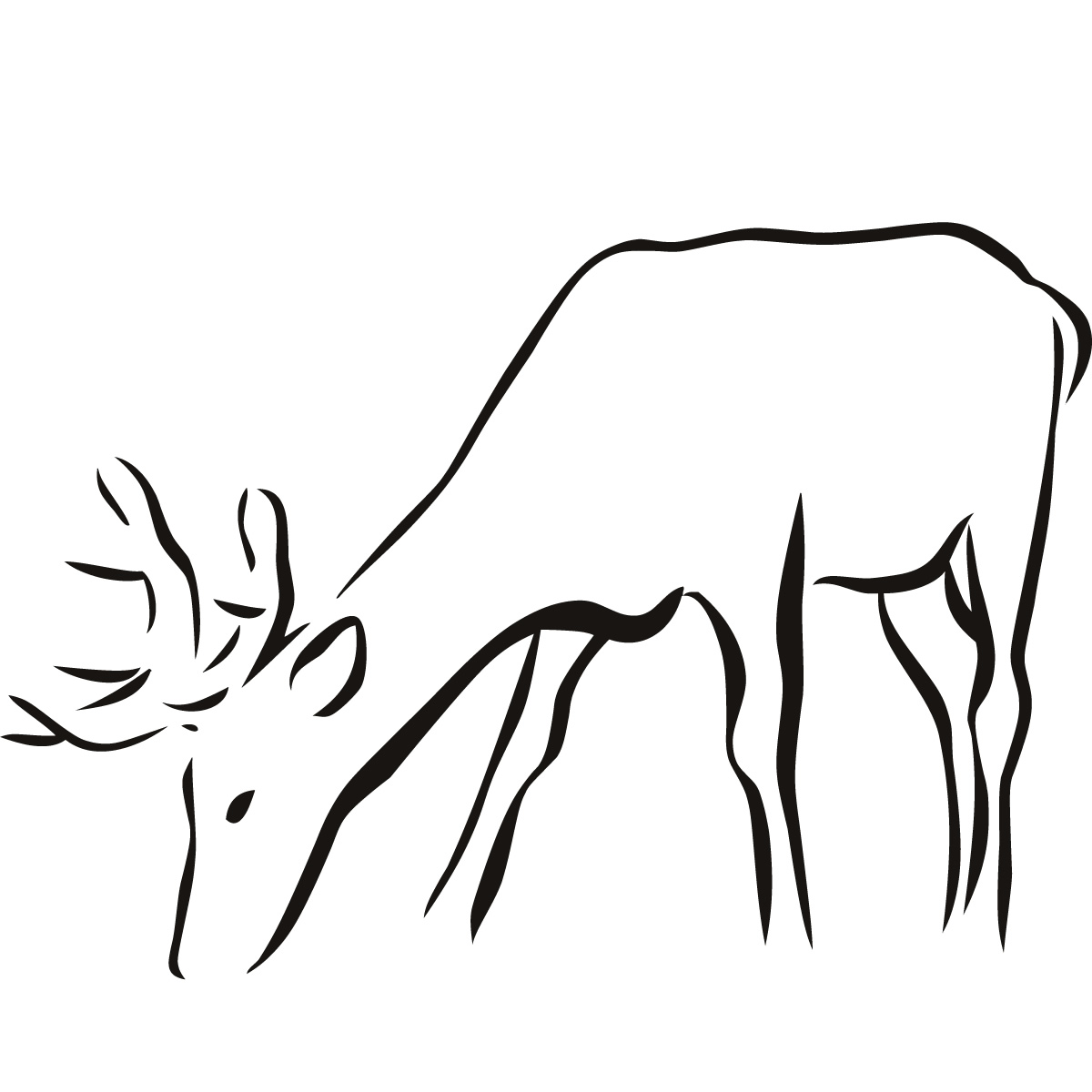 Clipart Animal Simple Line Drawing : Deer outline clipart best