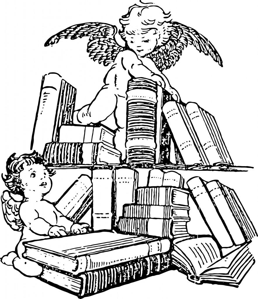 Vintage victorian books clip art