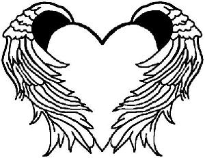Pictures of hearts with wings clipart best for Angel wings coloring pages