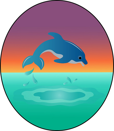 Clip Art Illustration of a Cute Dolphin Leaping in the ...