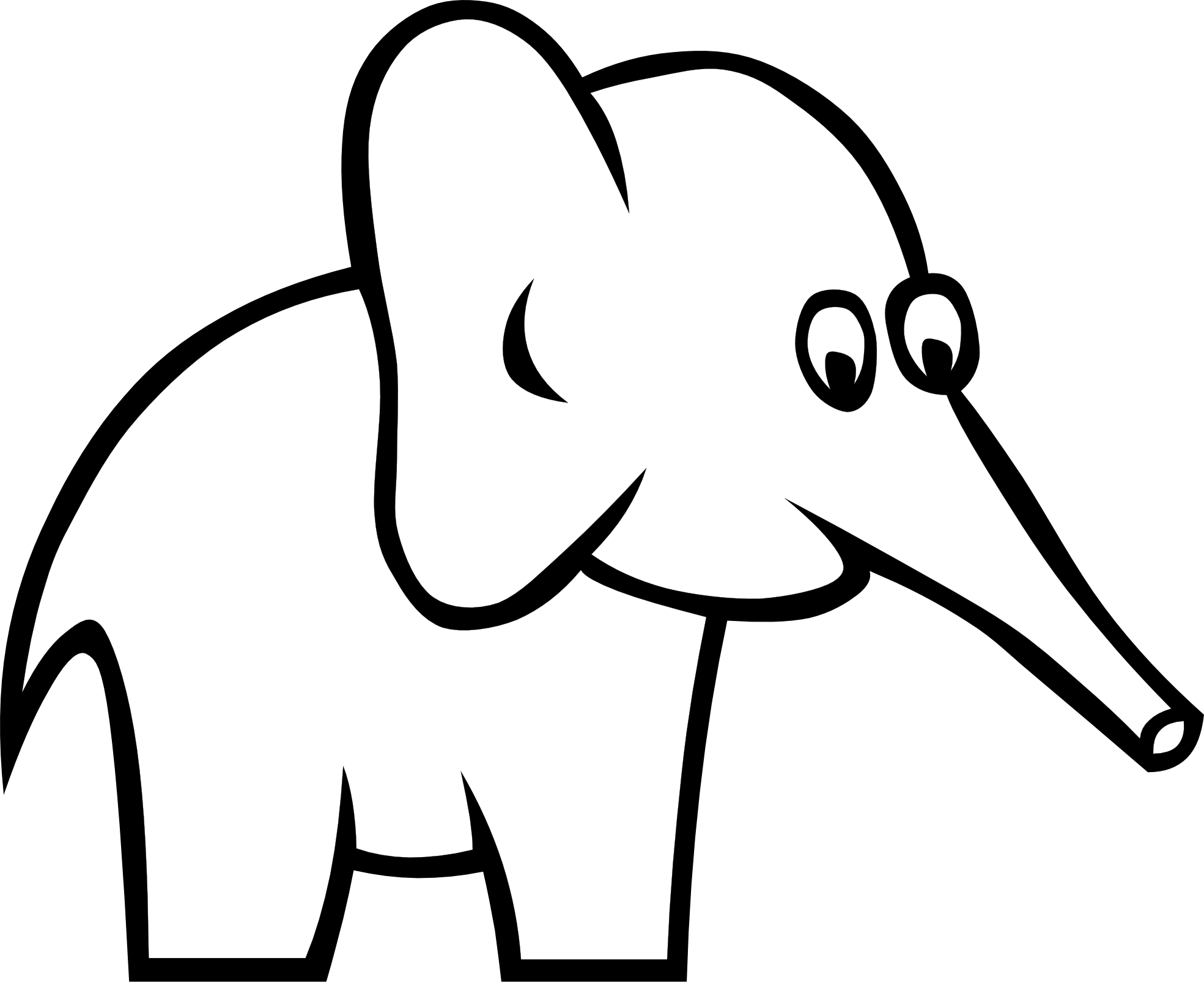 Vector Drawing Lines Disappear : Certain elephant black white line art scalable vector