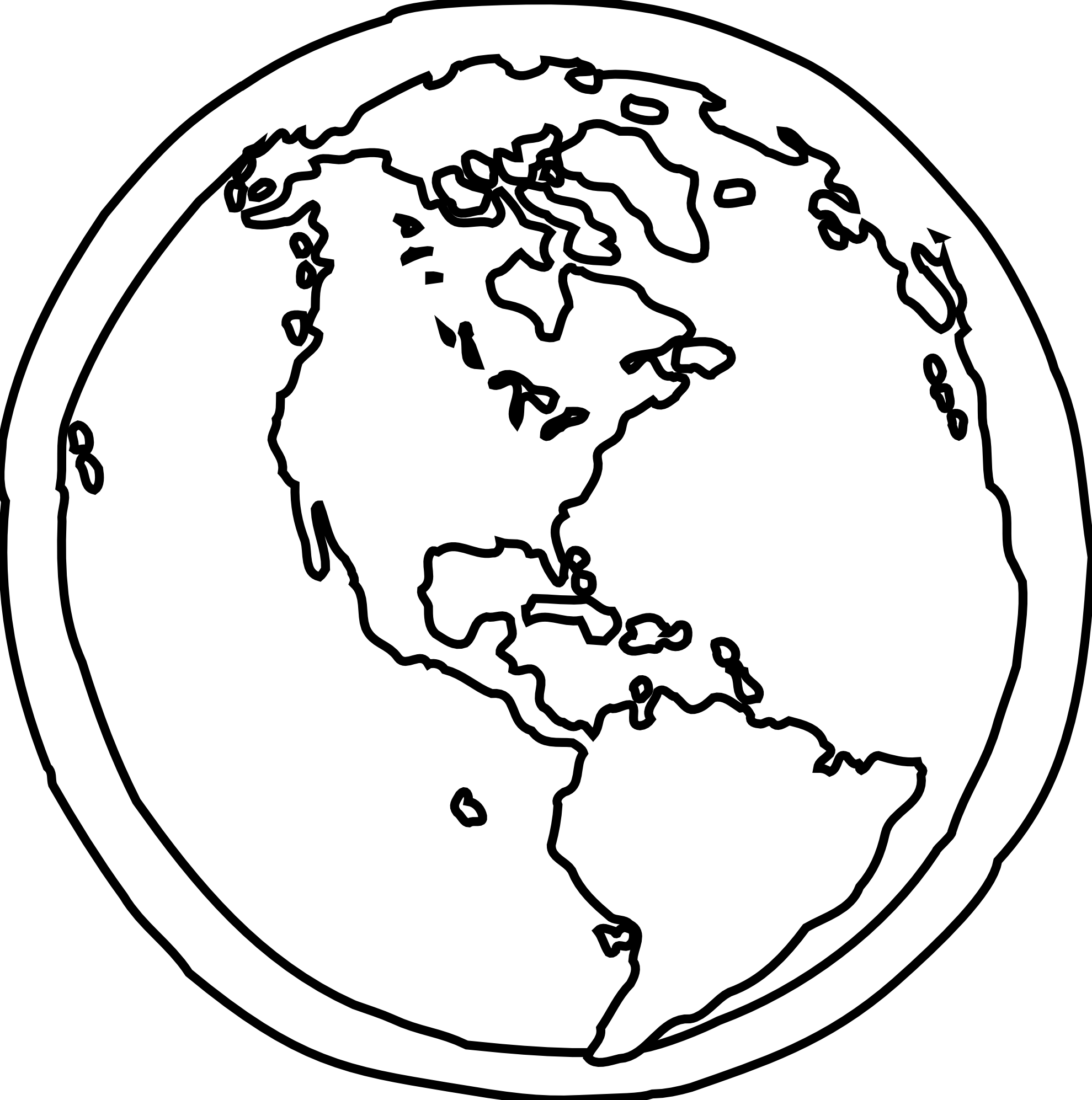 Earth Black And White Outline - ClipArt Best