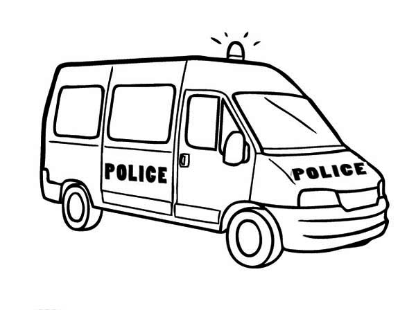 Colouring Picture Van : Kidspolice van colouring pages