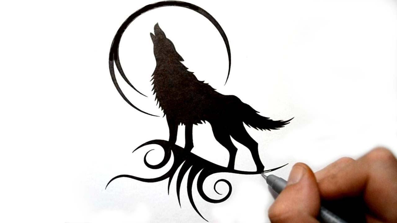 Тату волк гелевой ручкой 30