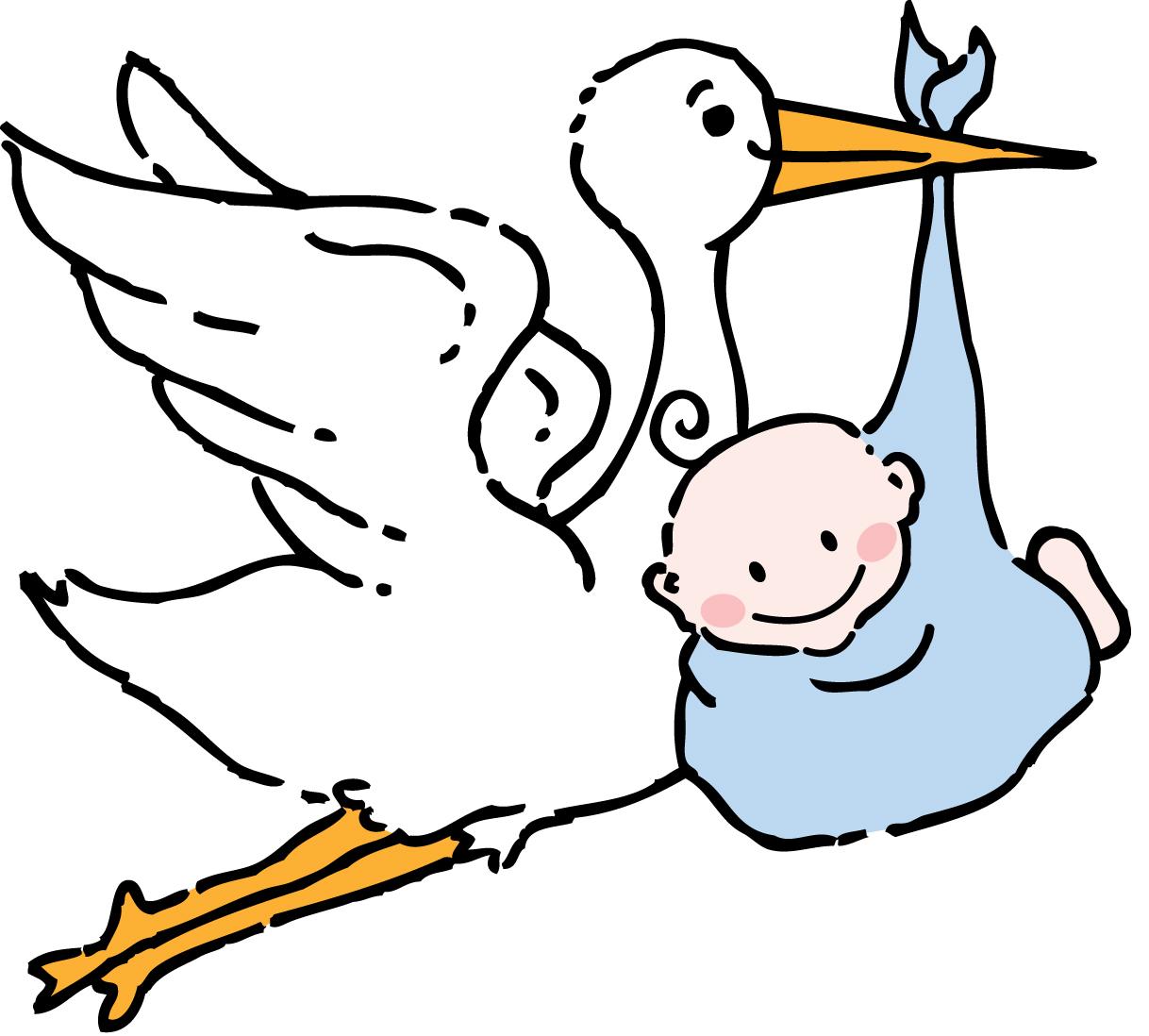 Baby Shower Stork Clip Art Black And White Clipart Best