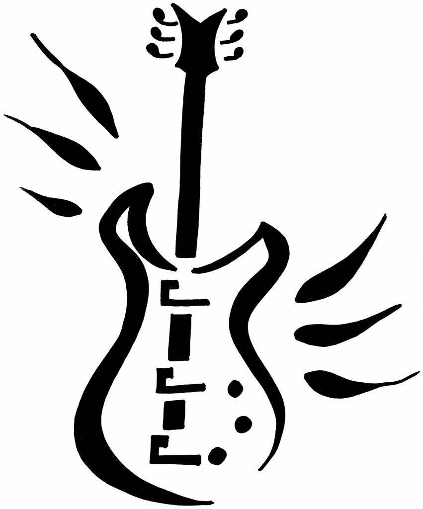 free guitar stencil guitar pumpkin carving pattern clipart best