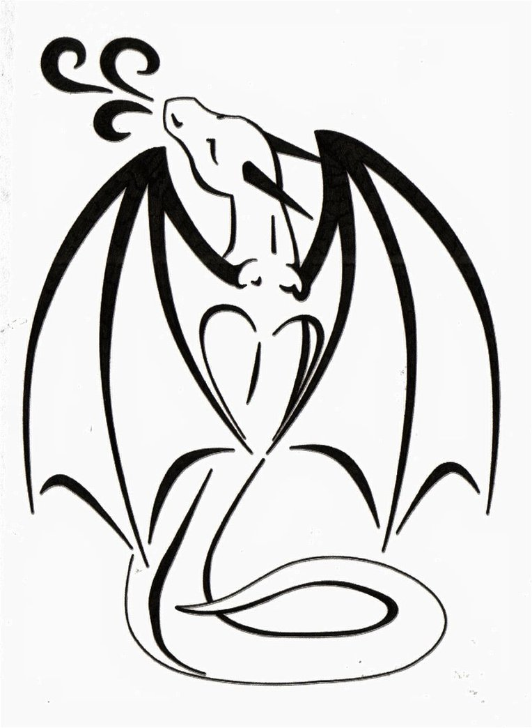 Line Drawing Dragon Tattoo : Line drawings of dragons clipart best