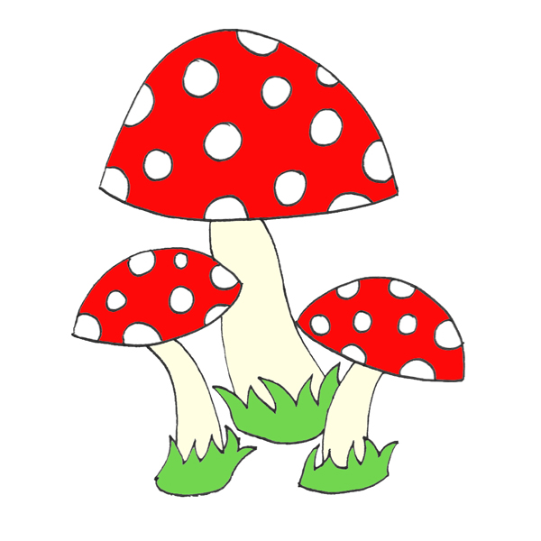 cute toadstool mushrooms velour iron-on red kawaii - Appliques ...