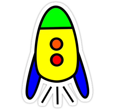 "Cartoon Rocket Ship by Chillee Wilson"" Stickers by ChilleeWilson ..."