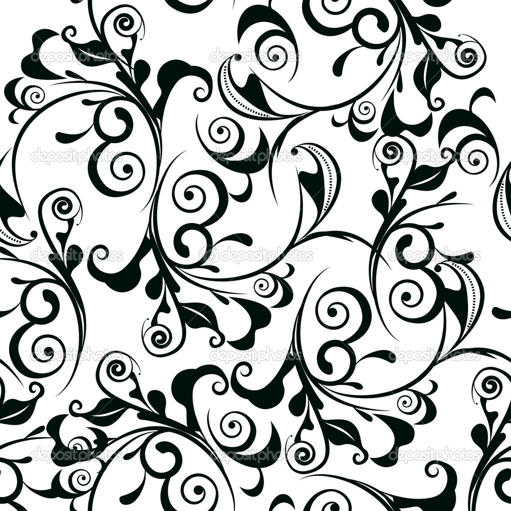 Damask border clip art car interior design for Black white damask wallpaper mural