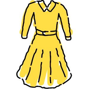 Yellow Ochre Gown Illustration Of A Pretty Floral Light Clipart ...
