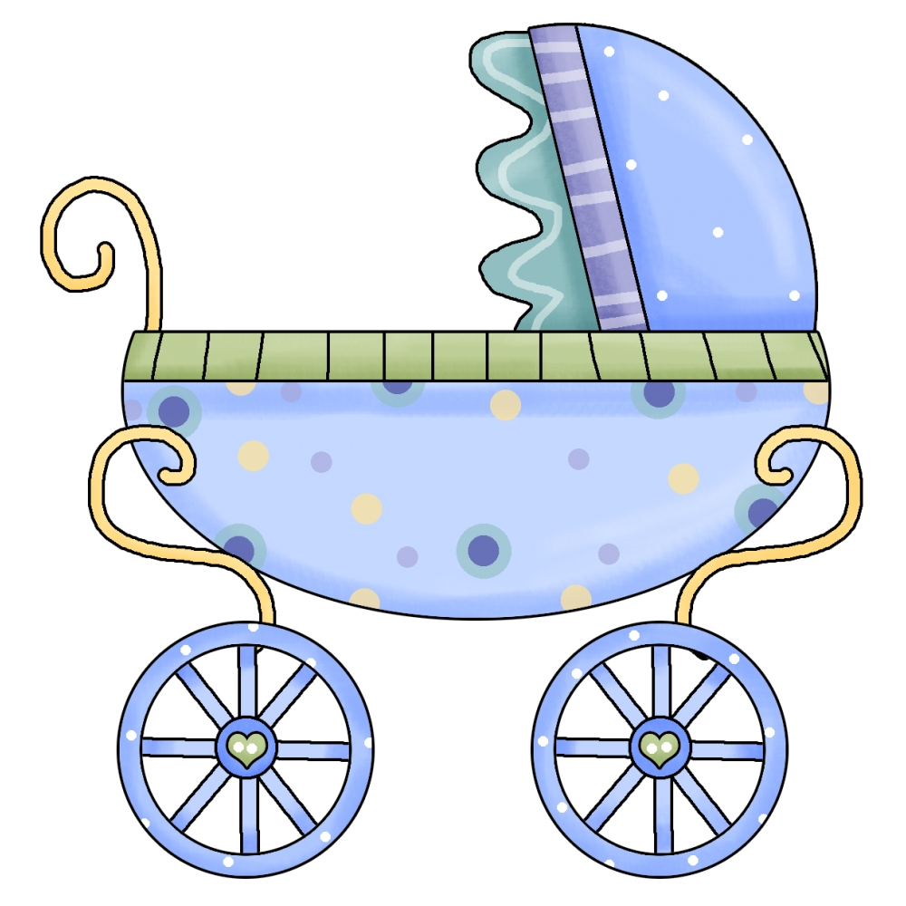 Cute Pink Baby Carriage Free Clip Art
