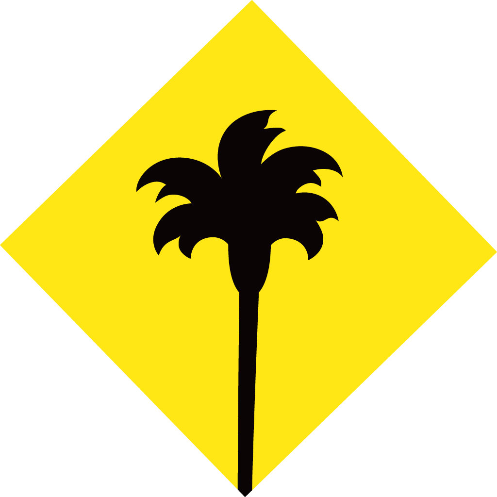 Black Palm Tree Logo Find Restaurant With Yellow Diamond And Icon ...