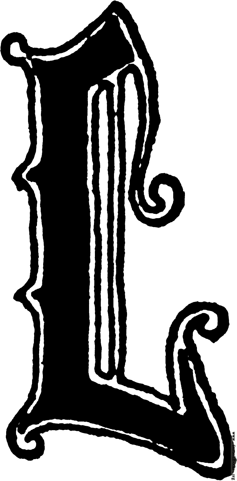 "Calligraphic letter ""L"" in 15th century gothic style ..."