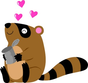 Raccoon Clipart Image - A Raccoon Holding A Tin Can With Hearts ...