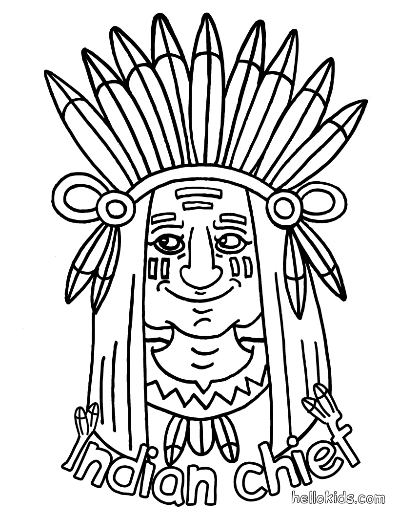 thanksgiving coloring pages of indians - photo#26