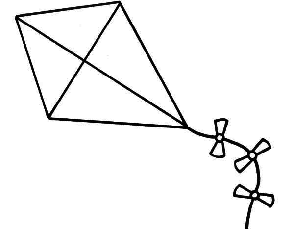 Kite Clipart Black And White on Triangle Shape Coloring Page