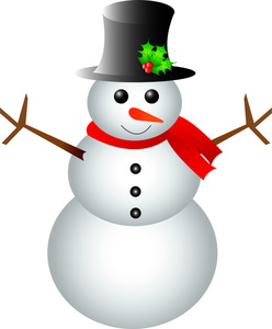 Snowman Clipart Image - Happy Snowman Wearing a Top Hat and Scarf