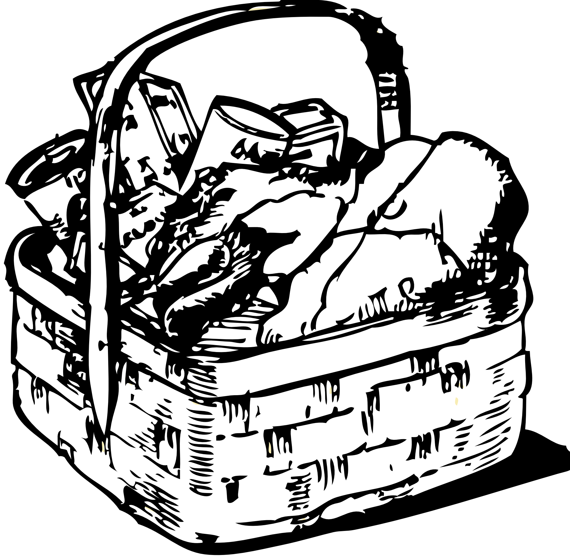 Basket Clip Art Black And White : Food basket black white line art coloring book