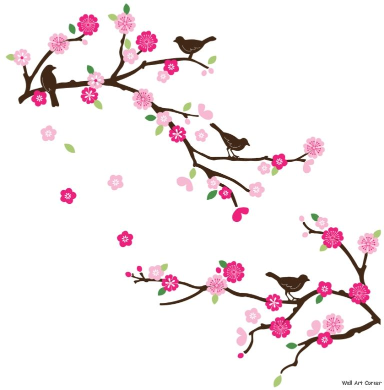 Pink Cherry Blossom Branches and Brown Birds Wall Sticker ...