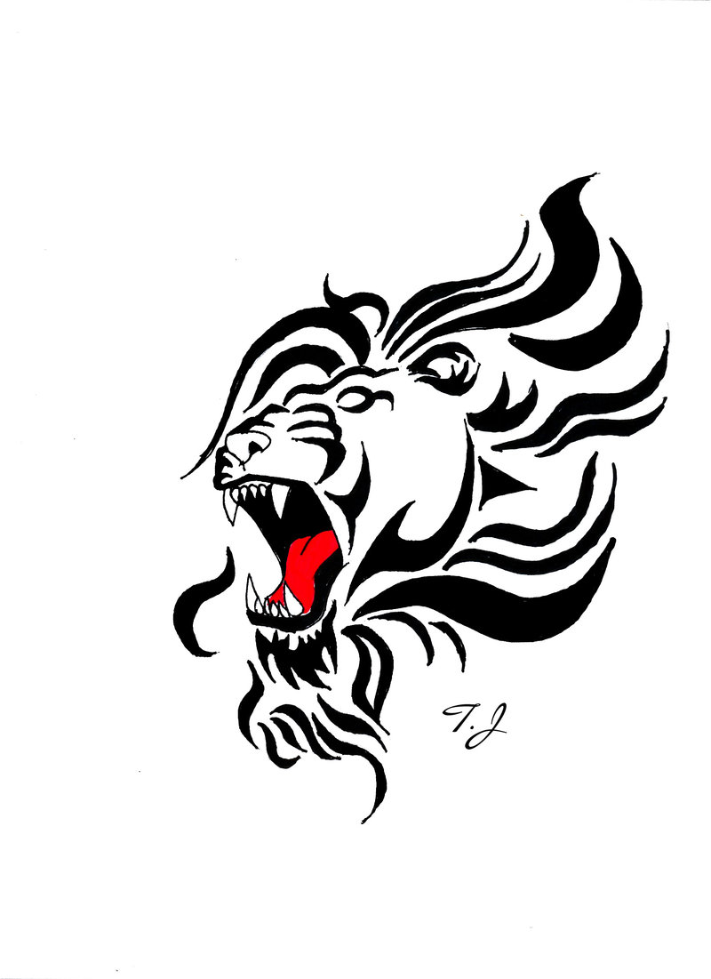 Lions Roaring Drawing Tattoo Roaring Lion Drawing by