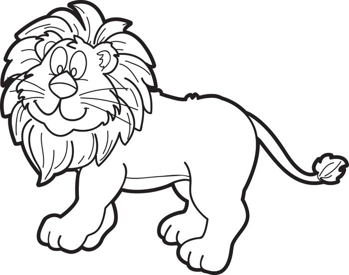 Line Drawing Zoo : Lion cartoon black and white clipart best