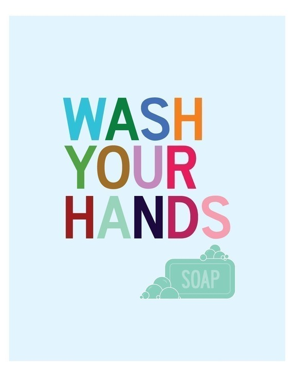 Wash Your Hands Bathroom Wall Art Print by ParadeAndCompany