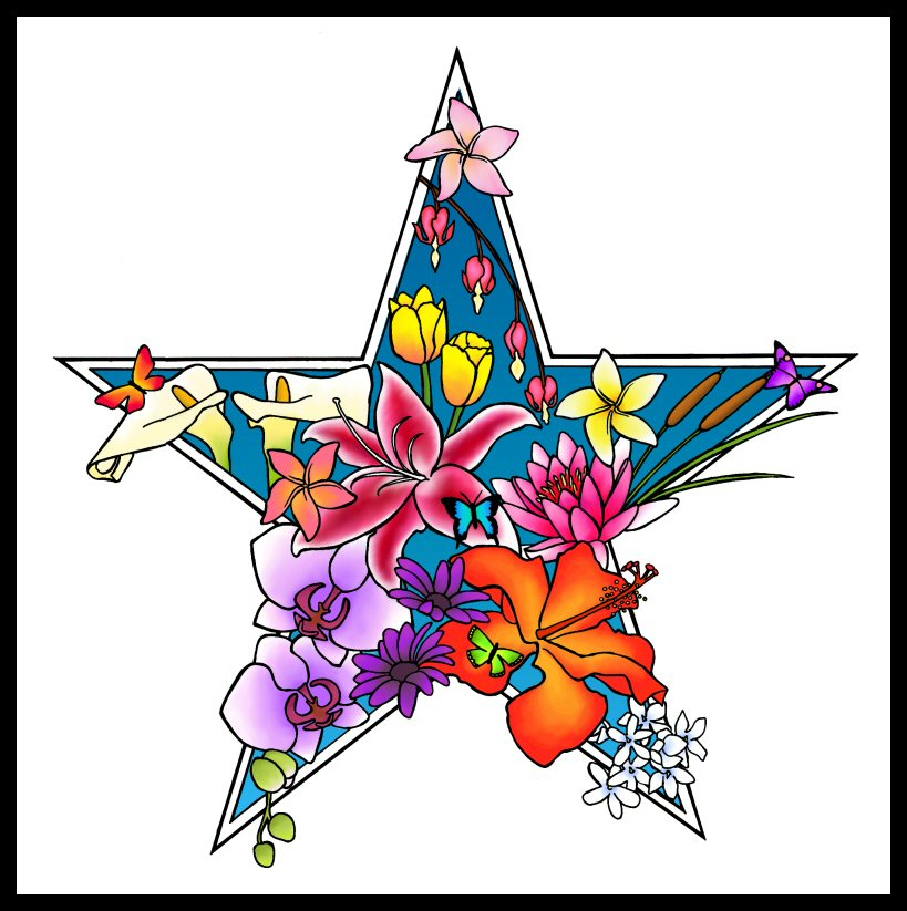 Flowers And Stars Tattoo Designs | Free Download Clip Art | Free ...