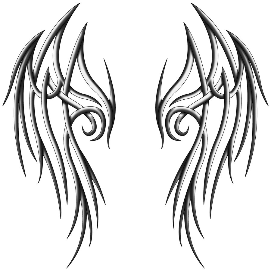 Tribal Angel Wings Drawing - ClipArt Best