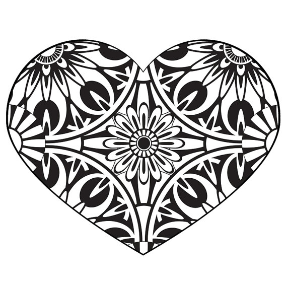 coloring pictures of hearts with banners clipart best
