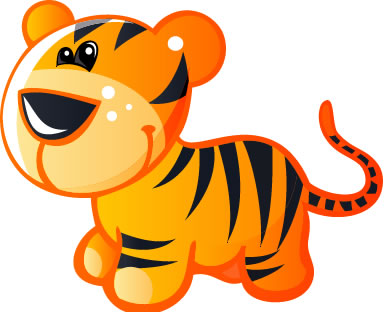 Baby Yellow and Brown Cartoon Tiger : Custom Wall Decals ... - ClipArt ...