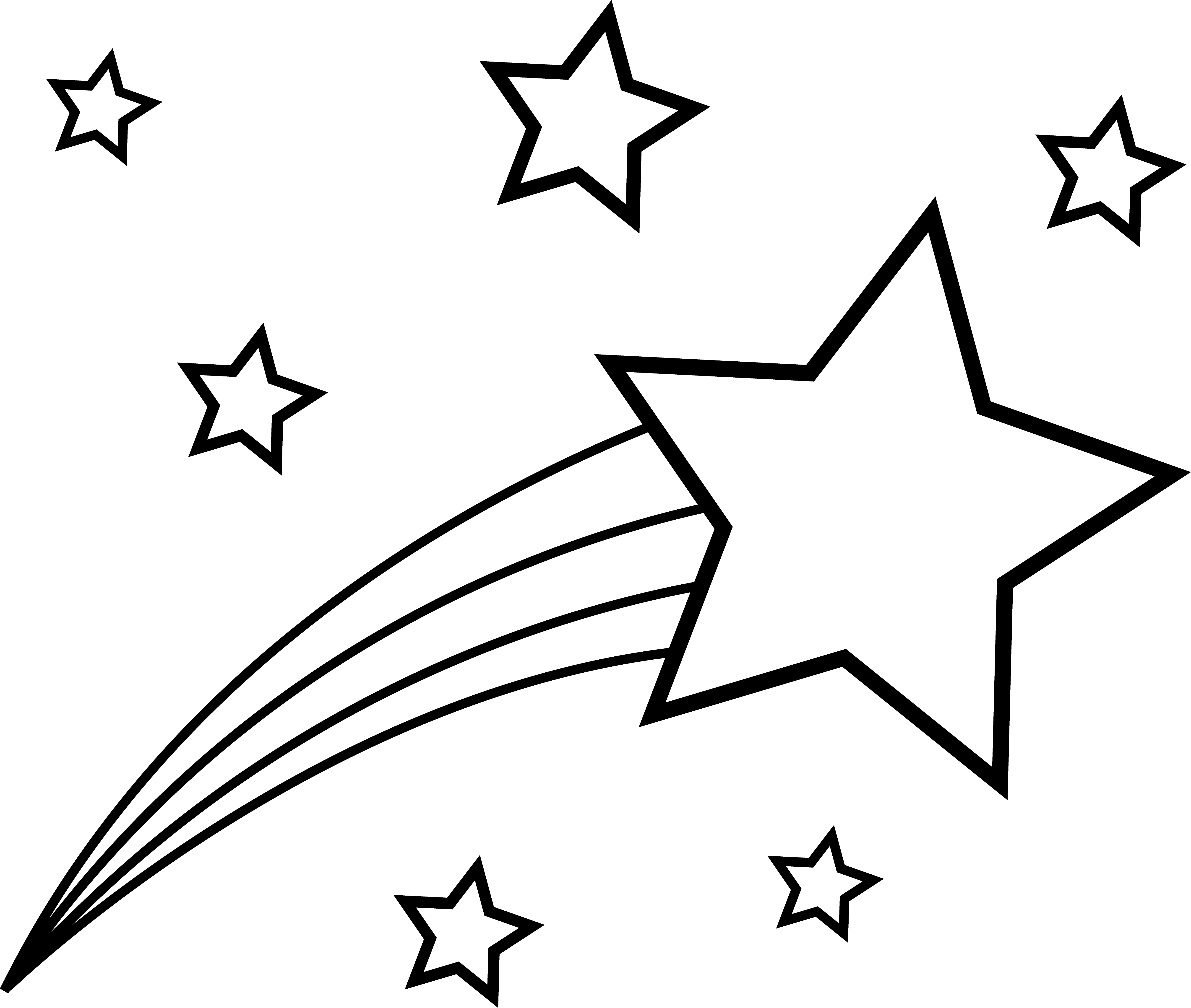 Shooting Star Clip Art Outline - Free Clipart Images