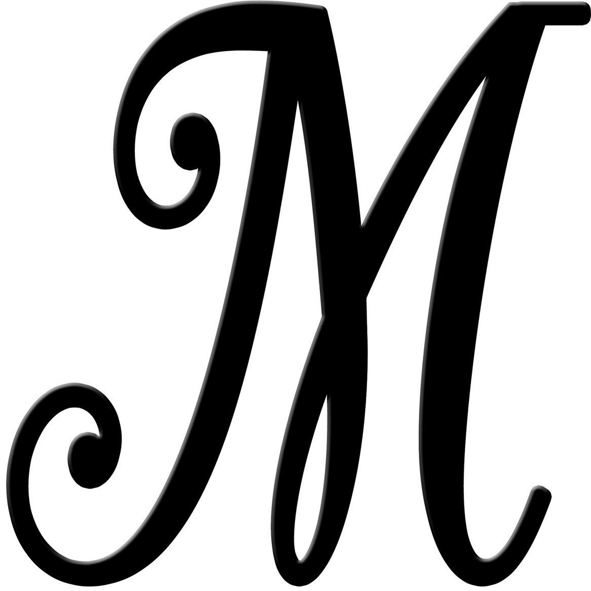 M In Fancy Cursive Fancy M Letter Outline...