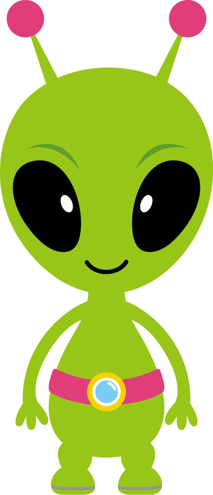 Green alien spaceship clipart