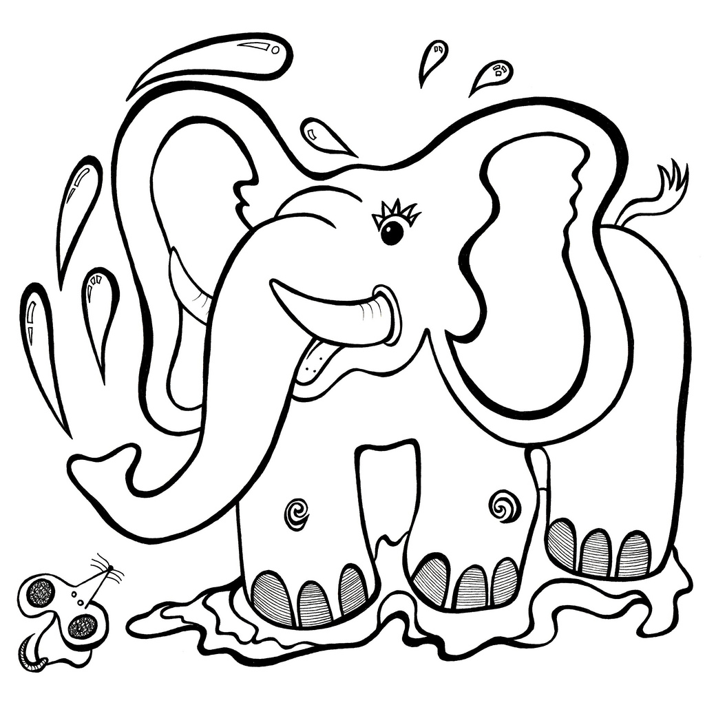 Line Drawings Of Cartoon Animals : Line drawing elephant clipart best