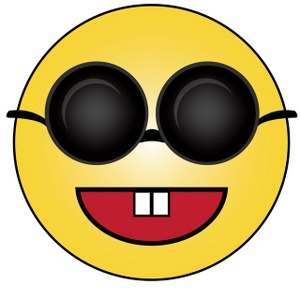Smiley Clipart Image - Cartoon of a Blind Smiley Wearing ...