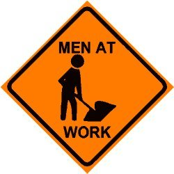 Amazon.com - MEN WORKING CAUTION road construction sign ...