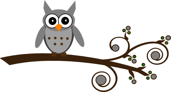 Grey Owl On Branch clip art - vector clip art online, royalty free ...
